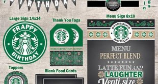 Starbucks Instant Digital File Download Theme Birthday Party Set - INSTANT DOWNLOAD