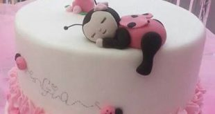Marienkäfer 1. Geburtstagstorte rosa Ombre Rüsche - #BabyKuchen