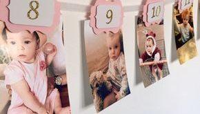 12 MONATE-FOTO-BANNER. Rosa und Gold. 12 Monate Banner. Kuchen Smash. Partei Dekorationen. Geburtstagskind. 1. Geburtstagsparty. Wanddekoration