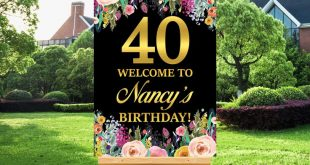 40th Birthday Welcome Sign, Welcome Poster, Wildflower, Women Birthday Decorations, Gold Foil, Custom Printable Sign (Digital File) A15