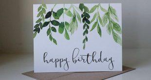 Alles Gute zum Geburtstagskarte, Ivy Geburtstagskarte, Aquarell Karte, hübsche Geburtstagskarte, einfache Geburtstagskarte, neutrale Geburtstagskarte, Blätter und Stiele