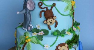 Blue Safari Birthday Cake