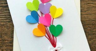 Geburtstagskarte / Rainbow Hearts handgemachte Hochzeitskarten / Blank Valentine Grußkarte / Hinweis Card