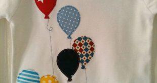Oben oben und Weg in meine schönen Ballon T-shirt! Super süß applizierten Te...